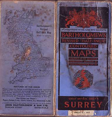 SURREY BARTHOLOMEWS REVISED HALF-INCH CONTOURD MAPS 1950'Spprox. VGC