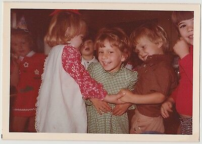Vintage 70s PHOTO Little Children Girls & Boys Playing At Party