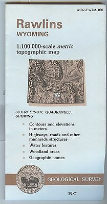 US Geological Survey topographic map metric Wyoming RAWLINS 1984