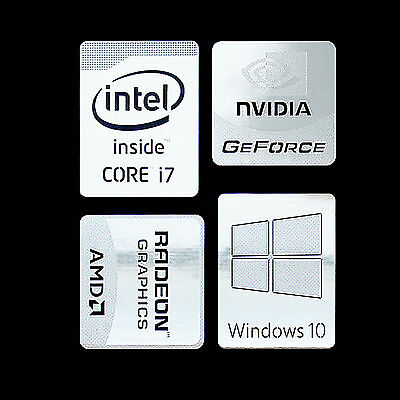 (Type ii) Haswell Intel Core i7 Logo Metal Decal Sticker Windows10 NVIDIA