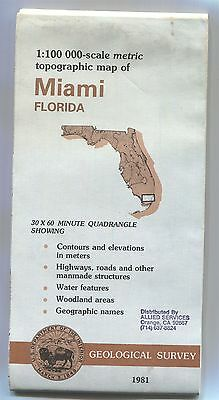US Geological Survey topographic map metric MIAMI Florida 1981 - bad - stamped