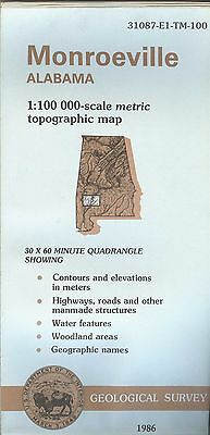 US Geological Survey topographic map metric MONROEVILLE Alabama 1986 +