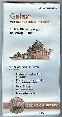 US Geological Survey topographic map metric GALAX Virginia North Caroline 1986