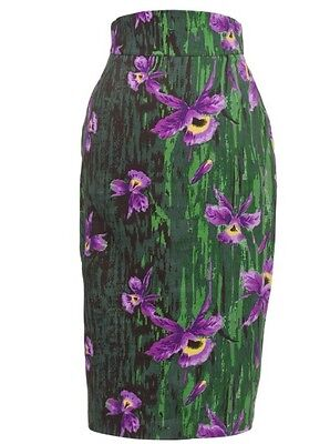 Pinup Girl High Waisted Pencil Skirt Purple Orchid Print 50s Vintage