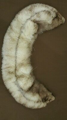 Vintage collar wrap white dark tips genuine FOX fur stole crafter cutter repair