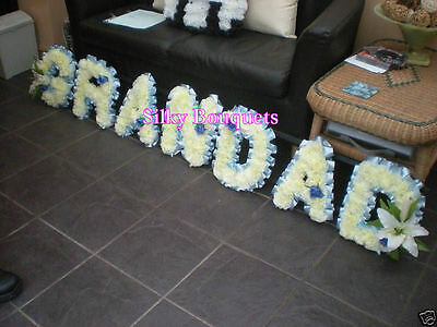 Artificial Silk Funeral Flower Grandad Any 7 Letter Tribute Memorial Wreath Faux