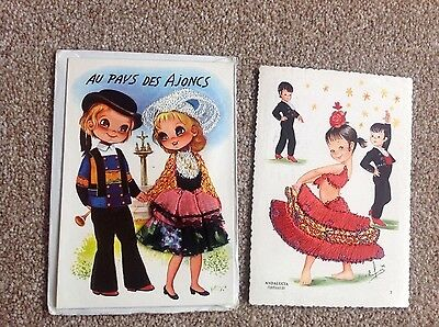 Vintage Embroided Postcards from Spain and France