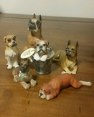 Boxer dog collection of six figurines