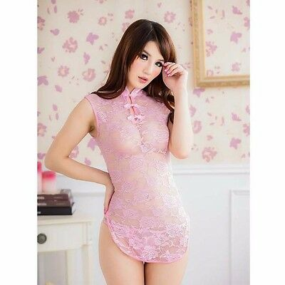Cheong Sam Lingerie See-through Chinese QiPao Gown Pink Color Intimates