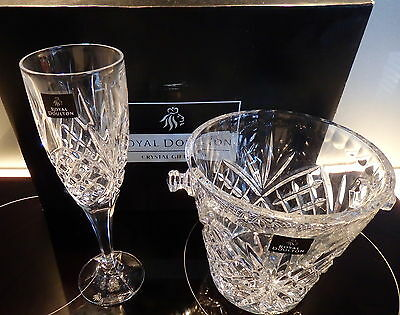 Royal Doulton Champagne Glasses/ice Bucket Set - 5 Piece Boxed Set -Never Used