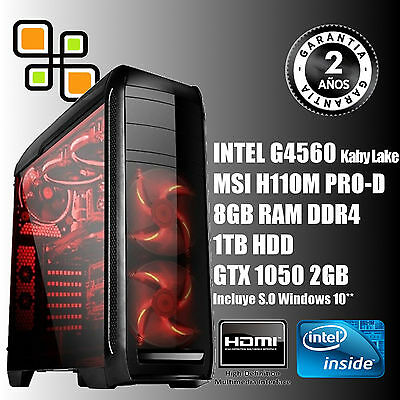 Ordenador sobremesa PC Gaming Intel G4560 + GTX 1050 2GB + 8GB DDR4 + 1TB / HDMI