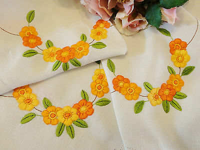 Vintage Hand Embroidered Tablecloth 122 x 118cm Daisy Design