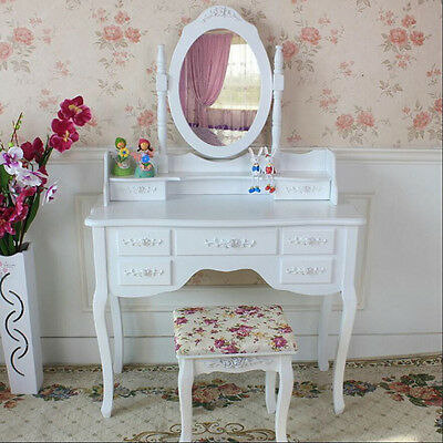 Bedroom White Ivory Makeup Desk Dressing Table With Stool Oval Mirror 7 Drawers