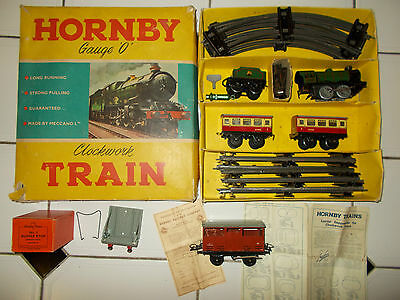 HORNBY O No.21 PASSENGER SET BOXED PLUS WAGON & BOXED No.1 BUFFER STOP, LEAFLETS