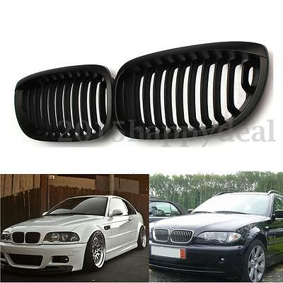 Mate Negro Riñón Parrilla Coupe Convertible Deportiva Grille FOR BMW 3 E46 02-07