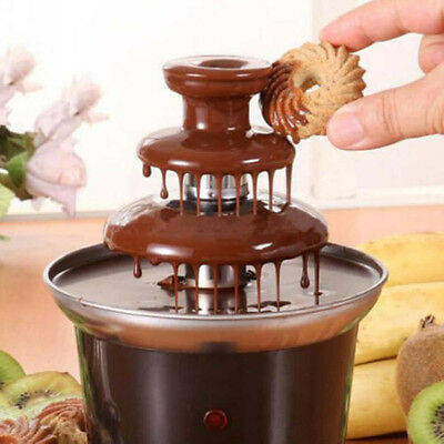 Chocolate Fountain Machine Fondue Maker Heated 3-Tier Home Household Party New