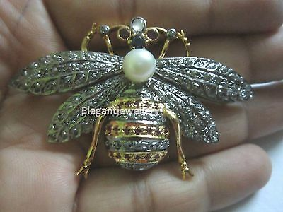 Vintage Inspired 2.94ct Rose Cut Diamond  Silver Pearl Butterfly Brooch