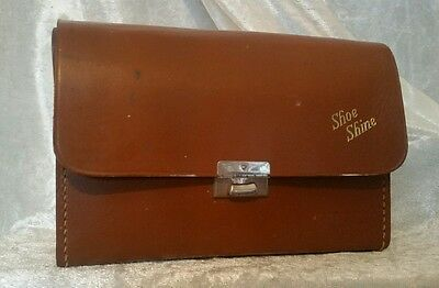 Vintage Shoe Shine Leather Case Kit + Brushes c1950s