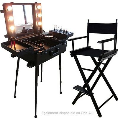Ensemble Studio Make-up Noir, Table et chaise maquilleur