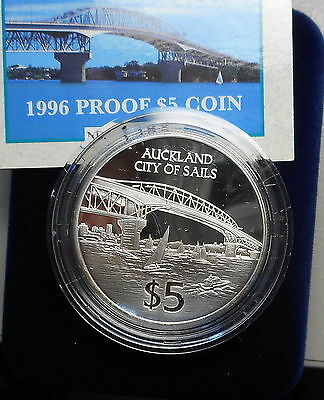 New Zealand 1996 Auckland City  Silver Proof $5 coin Nice