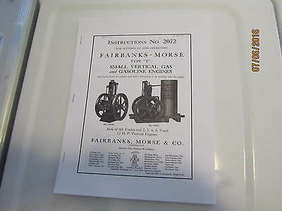 Reprint 1910Fairbanks Morse Type T 2-12hp Gas Engine Inst/parts Manual Hit Miss