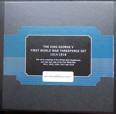 The King George V First World War Silver Threepence Set 1914-1918 Boxed + Coa