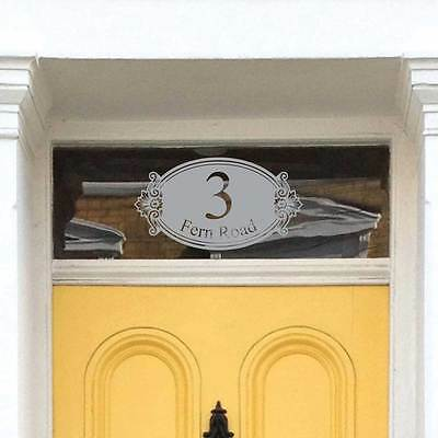 Ornate Oval Frosted Window Number Etched glass Fanlight House Window Numbers