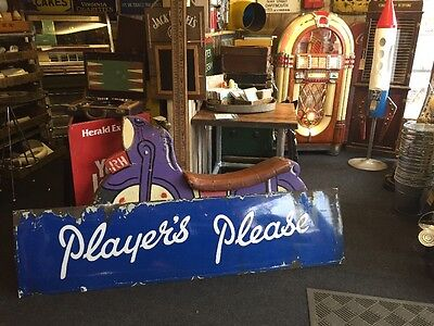 A Very Large Players Please Tobacco Enamel Sign Vintage Old
