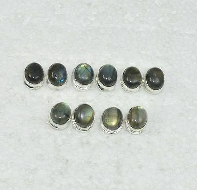 925 SILVER PLATED WHOLESALE 5PAIR LOT LABRADORITE STUD BIG EARRING JEWELRY 26.6g