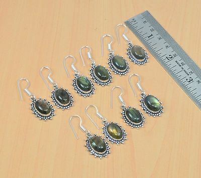 925 Silver Plated Wholesale 5Pair Lot Labradorite Hook Nice Earring Jewelry