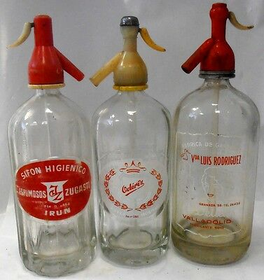 lote 3 antiguo SIFON VINTAGE 3  BOTTLES GLASS SODA SIPHON,SIFONES