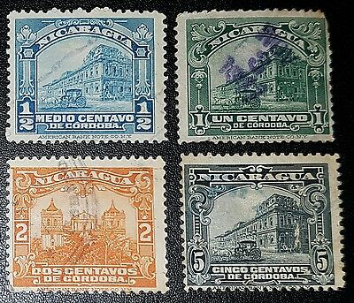 NICARAGUA National Palace Managua, Leon Cathedral Used Stamps (No264)