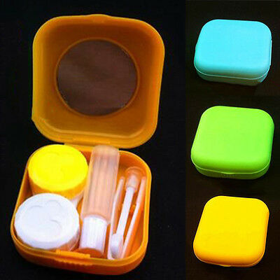 Contact Lens Case Container Mirror Set Mini Easy Carry Pocket Size Travel Kit