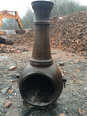 Vintage Chimenea Patio Heater Cast Iron Wood Burner Outdoor