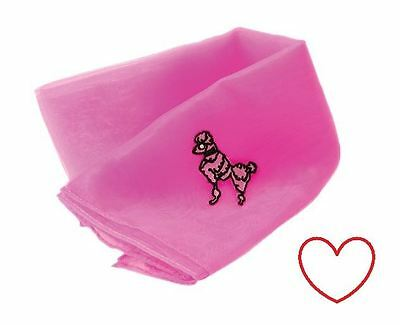 pink poodle ladies scarf fancy dress grease 1950's accessory