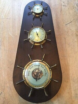 Vintage Nautical West German Wood Brass Glass Thermometer Barometer