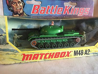 Matchbox Battle Kings K-102 M48-A2 Tank Military Armor Vehicle Green w/box