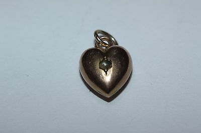 Antique (Chester 1894) Small 9ct Rose Gold split pearl Puffy Heart Charm/Pendant