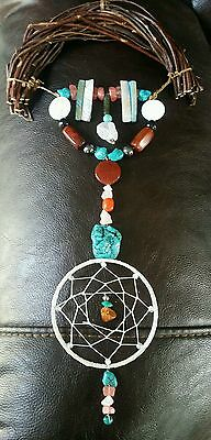 Native American Indian Harmony Flax Bow Healing Stones Turquoise & Dream Catcher