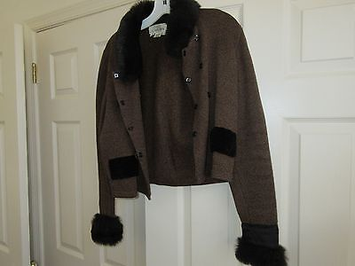 Jamie Kreitman , Ladies Jacket , Synthetic Fur Trim , Small , Black / Brown Comb