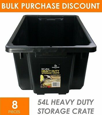 8 x 54L Heavy Duty BLACK Plastic Storage Tubs - Crate Containers Boxes Tub Bin