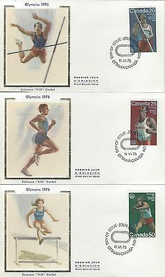 1975 Montreal Olympics #664-4 Track and Field x3 FDC with Colorano Silk cachet
