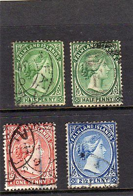 Falkland Islands QV Selection USED 1891 - 1902 1/2d - 21/2d see scans