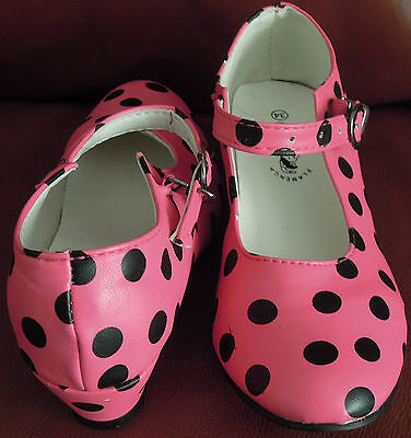 Flamenco Dress Up Shoes Pink with Black Dots Size 1 (34)