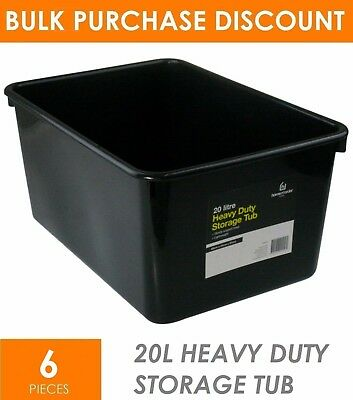 6 x 20L Heavy Duty BLACK Plastic Storage Tubs - Crate Containers Boxes Tub Bin