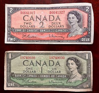 Vintage Canadian Notes - One Dollar and Two Dollar