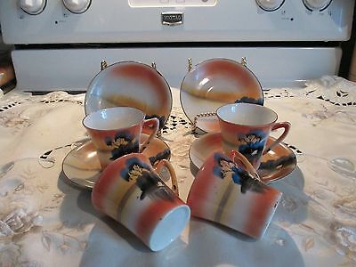 Four Antique Sets Of Japanese Tea Cups And Saucers