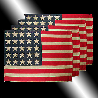 Set Of 4 Vintage Red Blue White Stars Stripes Usa Flag Tapestry Table Placemats