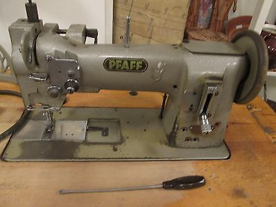 Vintage Industrial Pfaff 145 Sewing Machine with Stand & Spool Holder