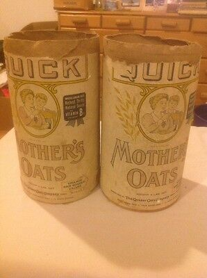 Two Original Antique Quaker Oats Co.mothers Crushed Oats Containers